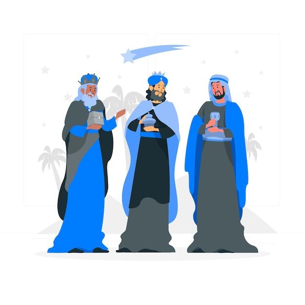 Illustration De Concept De Trois Hommes Sages Vecteur gratuit