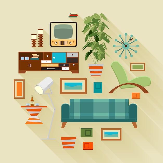 Illustration de concept avec les trucs du salon Vecteur Premium