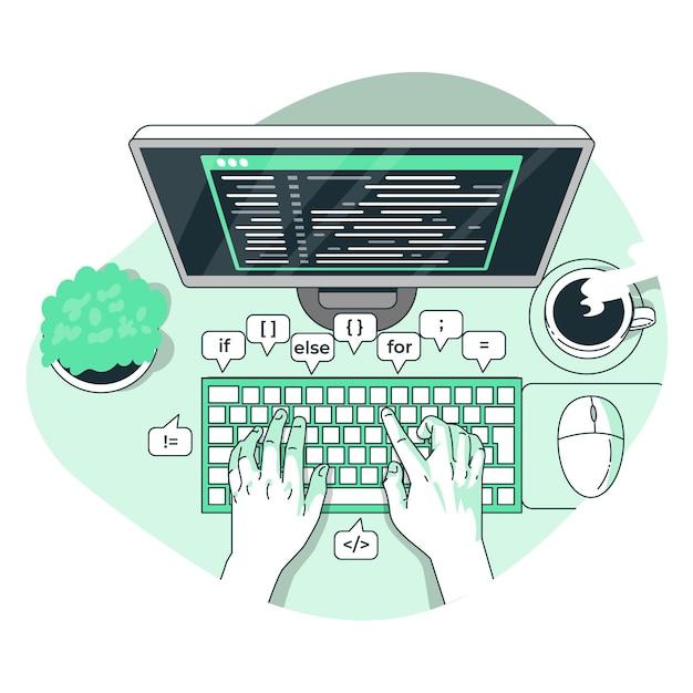 Illustration De Concept De Typage De Code Vecteur gratuit