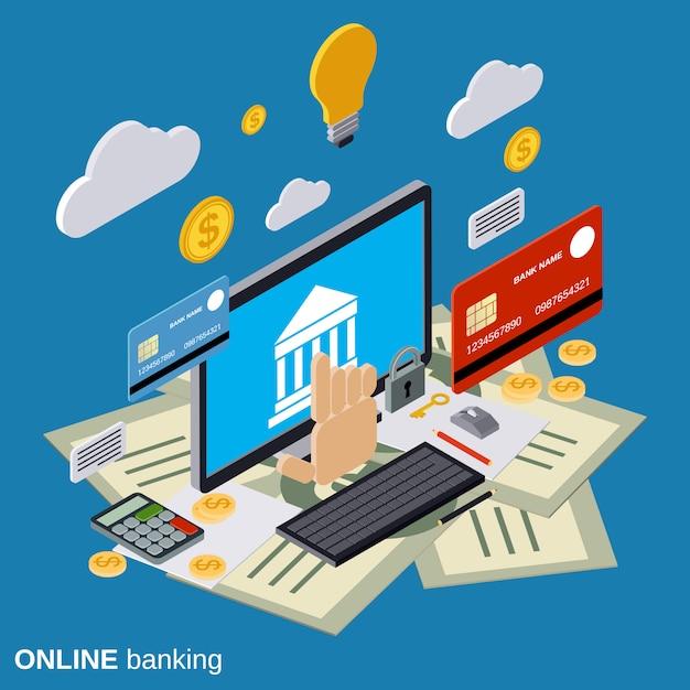 Illustration de concept de vecteur isométrique plat de services bancaires en ligne Vecteur Premium