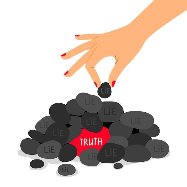 Illustration De Concept De Vérité Et Mensonge. Informations Vraies Et Fausses. Métaphore Des Réponses Correctes Et Fausses. Vecteur Premium