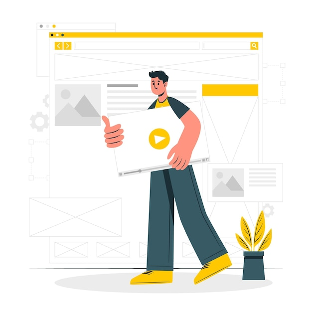 Illustration De Concept De Wireframing Vecteur gratuit
