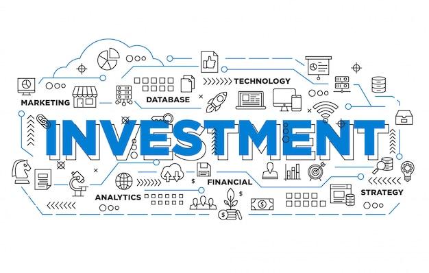 Illustration de la conception de bannière d'investissement avec style iconique Vecteur Premium