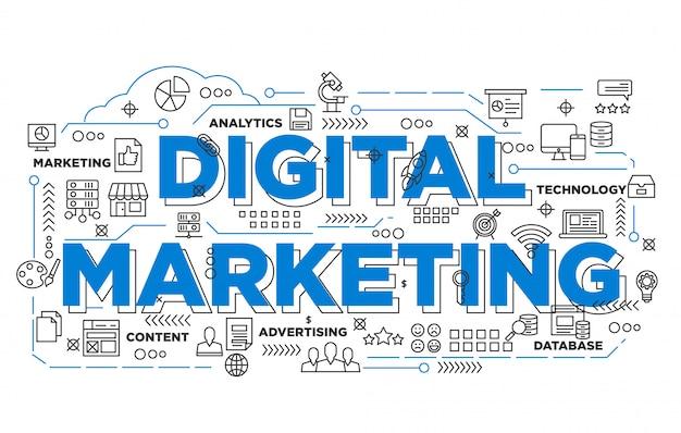 Illustration de la conception de bannière marketing numérique avec style iconique Vecteur Premium
