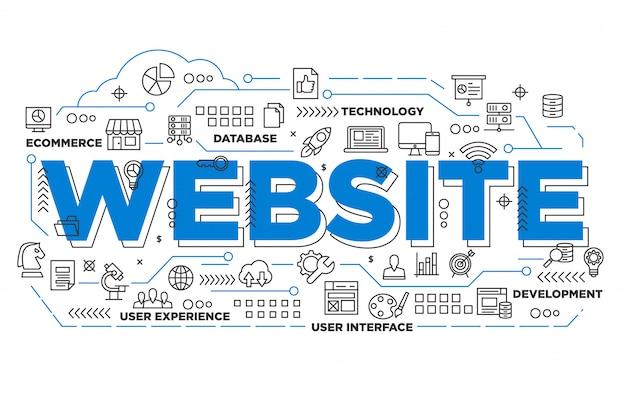 Illustration de conception de bannière de site web avec un style emblématique Vecteur Premium