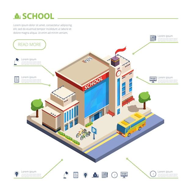 Illustration de conception de bâtiment scolaire Vecteur gratuit