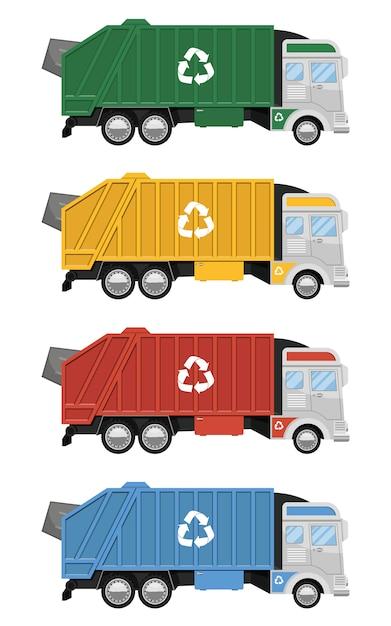 Illustration De Conception De Camion à Ordures Isolé Sur Fond Blanc Vecteur Premium