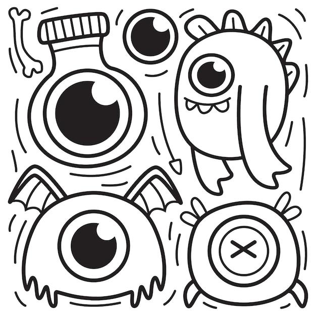 Illustration De Conception De Doodle Halloween Dessinés à La Main Vecteur Premium