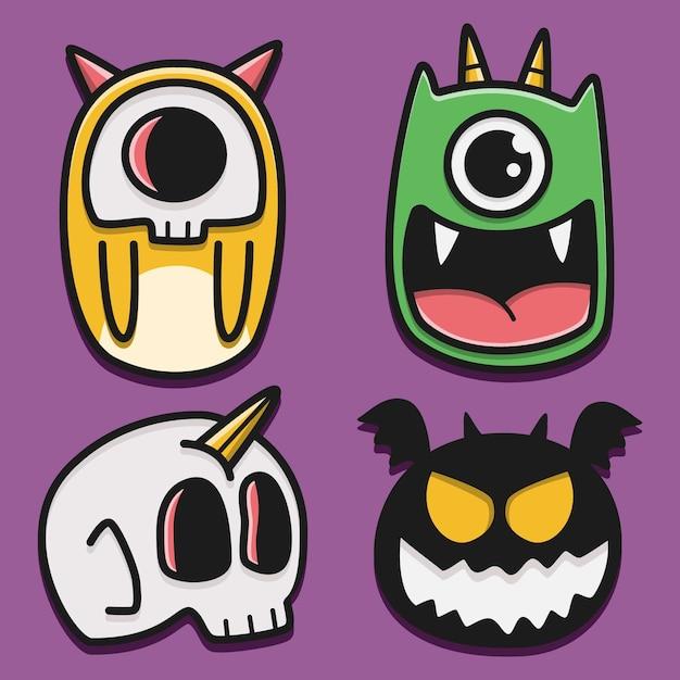 Illustration De Conception De Doodle Monstre Dessin Animé Kawaii Vecteur Premium