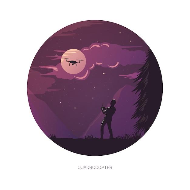 Illustration De Conception Graphique De Personne Opérant Un Quadricoptère La Nuit De La Lune Vecteur Premium