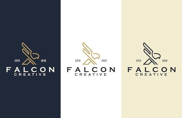 Illustration De Conception De Logo De Contour De Faucon Vecteur Premium