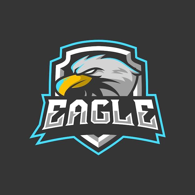 Illustration De Conception De Logo De Mascotte D'aigle Pour L'équipe De Sport Ou D'e-sport Vecteur Premium