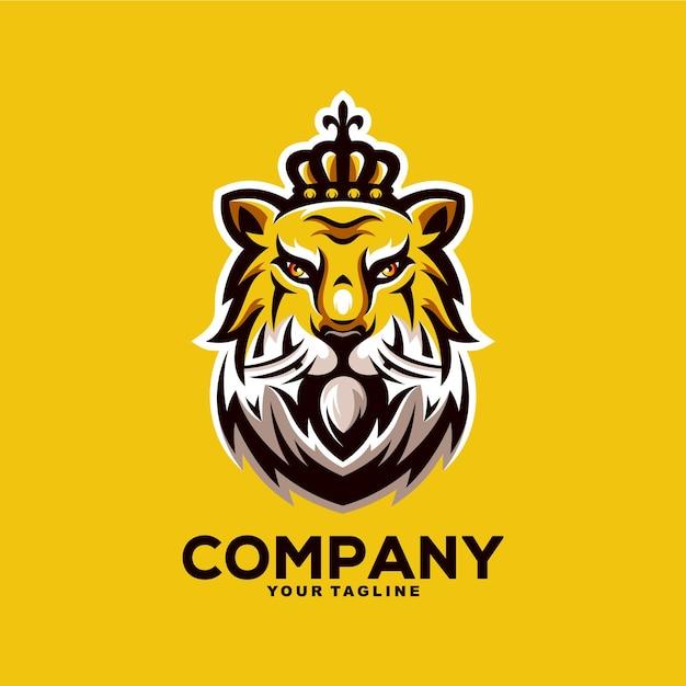 Illustration De Conception De Logo De Mascotte De Roi Tigre Génial Vecteur Premium