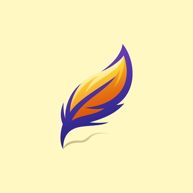 Illustration De Conception De Logo De Plume Vecteur Premium