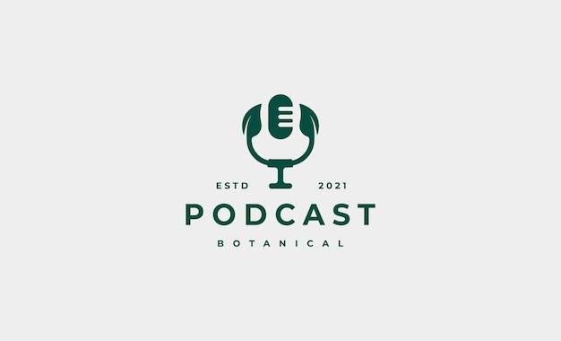Illustration De Conception De Logo Podcast Feuille Vecteur Premium