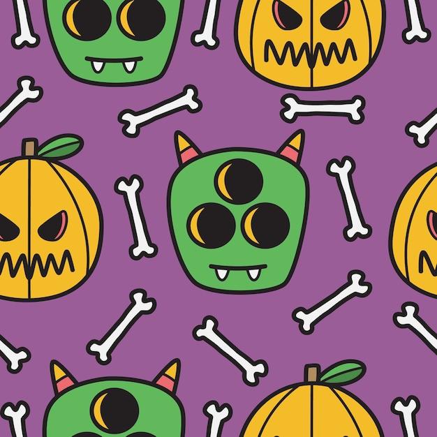 Illustration De Conception De Modèle De Doodle Halloween Dessiné à La Main Vecteur Premium