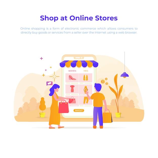 Illustration de la conception plate d'acheter ou de magasiner dans une boutique en ligne Vecteur Premium