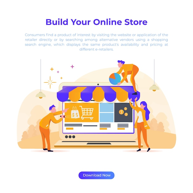 Illustration de conception plate pour construire un magasin en ligne pour le commerce électronique Vecteur Premium