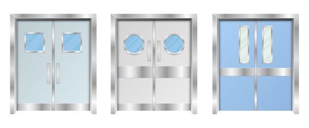 Illustration De Conception De Portes Doubles D'hôpital Isolé Sur Fond Blanc Vecteur Premium