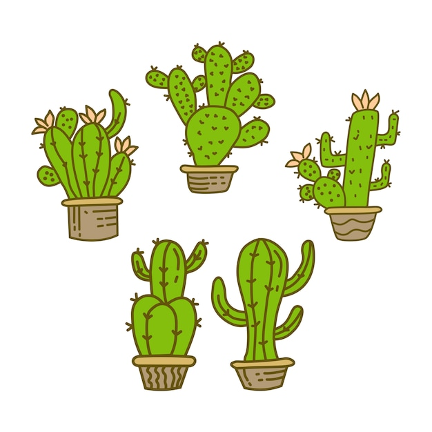 Illustration de conception de pot de cactus Vecteur Premium