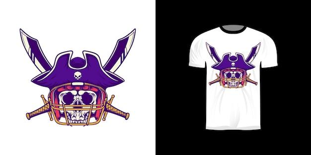 Illustration De Conception De Tshirt Roi Pirate Football Américain Avec Style Rétro Vecteur Premium