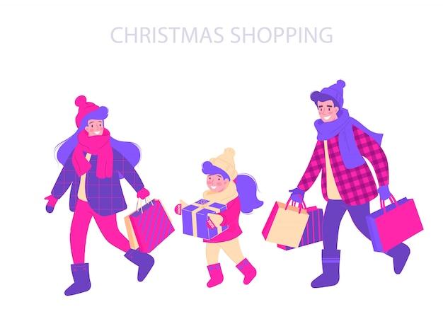 Illustration De Conception Typographie Shopping Noël. Vecteur Premium