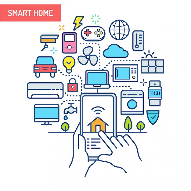 Illustration Conceptuelle De Smart Home (iot). Vecteur Premium