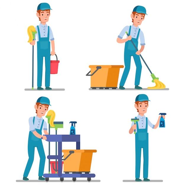 Illustration D'un Concierge Professionnel Avec De Nombreux équipements De Nettoyage Prêt à Nettoyer Toute La Pièce Vecteur Premium