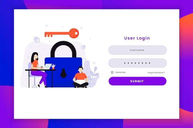 Illustration De Connexion Utilisateur Avec Clé Vecteur Premium