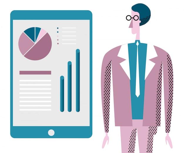 Illustration de conseil en affaires. employé de bureau et infographie. Vecteur Premium