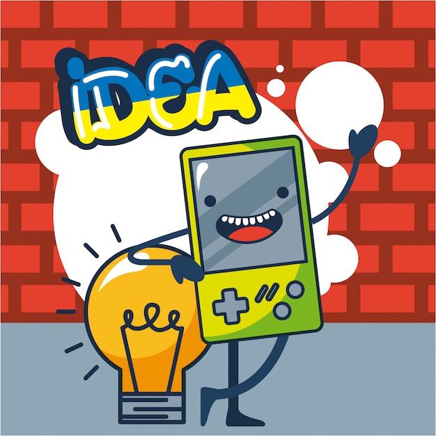 Illustration de la console de jeux et de l'ampoule Vecteur gratuit