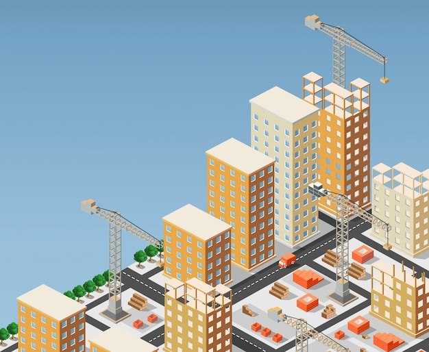 Illustration de la construction urbaine Vecteur Premium