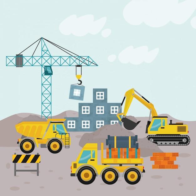 Illustration en construction Vecteur Premium