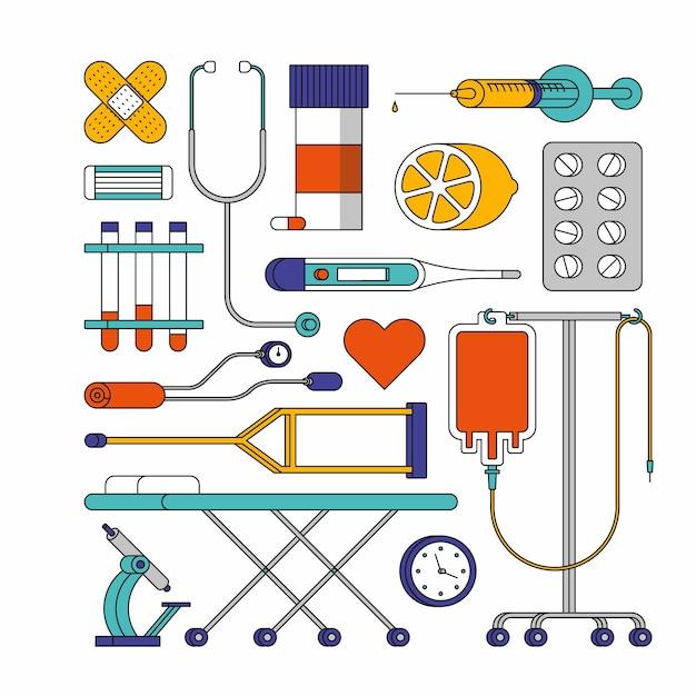 Illustration De Contour De L'hôpital. Jeu D'icônes Médicales, Fond Blanc Vecteur Premium