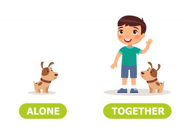 Illustration des contraires seuls et ensemble. Vecteur Premium