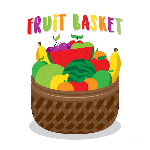 Illustration de la corbeille de fruits Vecteur Premium