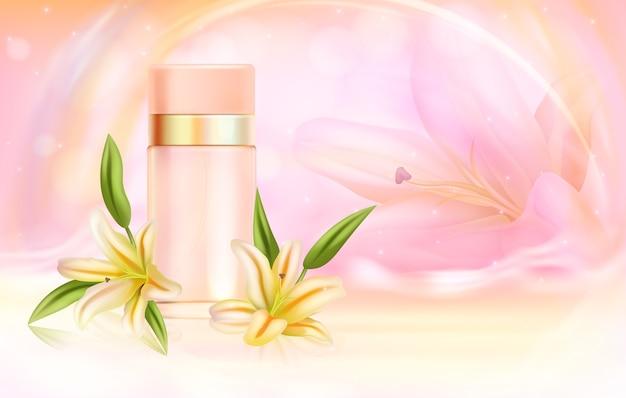 Illustration De Cosmétiques De Parfum Lily. Vecteur Premium
