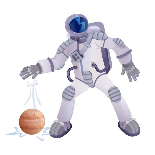 Illustration De Cosmonaute Et De La Planète Vecteur Premium