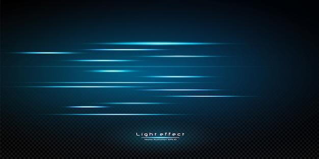 Illustration D'une Couleur Bleue. Effet Lumineux. Résumé Des Faisceaux Laser De Lumière. Rayons De Lumière Néon Chaotiques. Vecteur Premium
