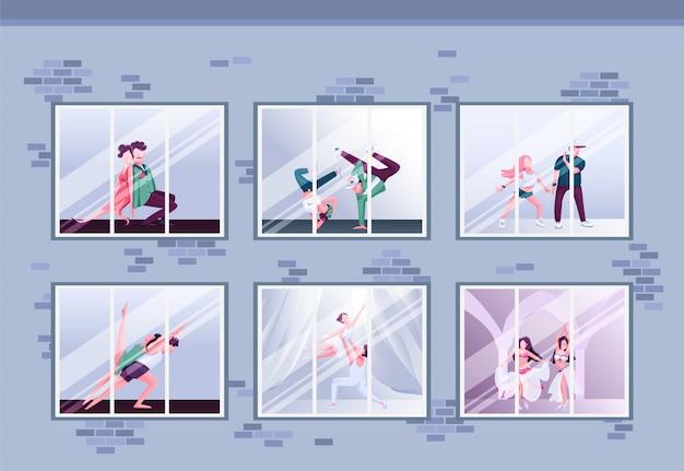 Illustration De Couleur Plate De Classe De Danse Du Matin Vecteur Premium
