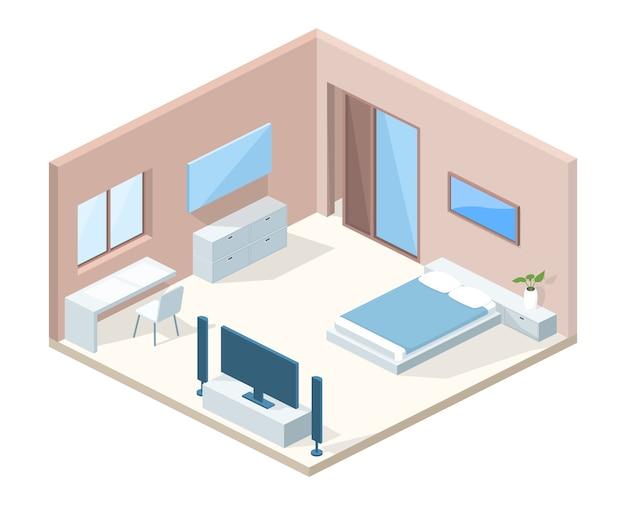 Illustration de la coupe transversale intérieure de la chambre à coucher Vecteur gratuit