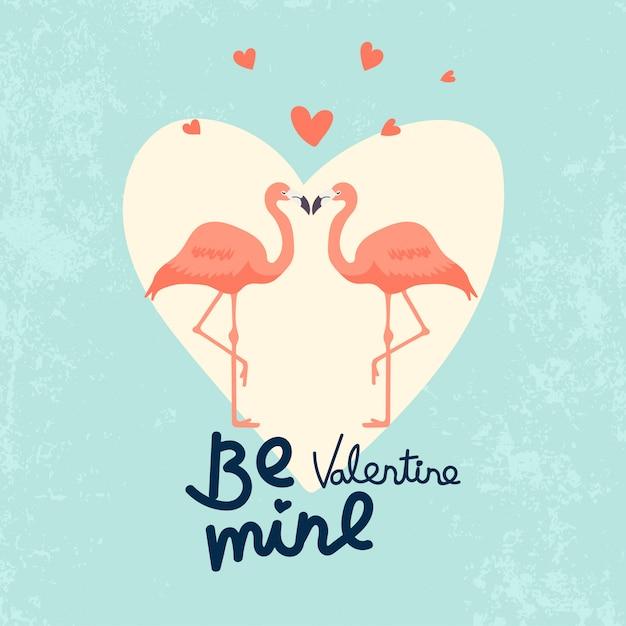 Illustration de couple flamingo pour la saint-valentin Vecteur Premium