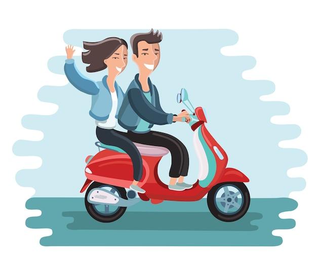 Illustration De Couple Heureux Sur Un Cyclomoteur. Fille Agitant Vecteur Premium