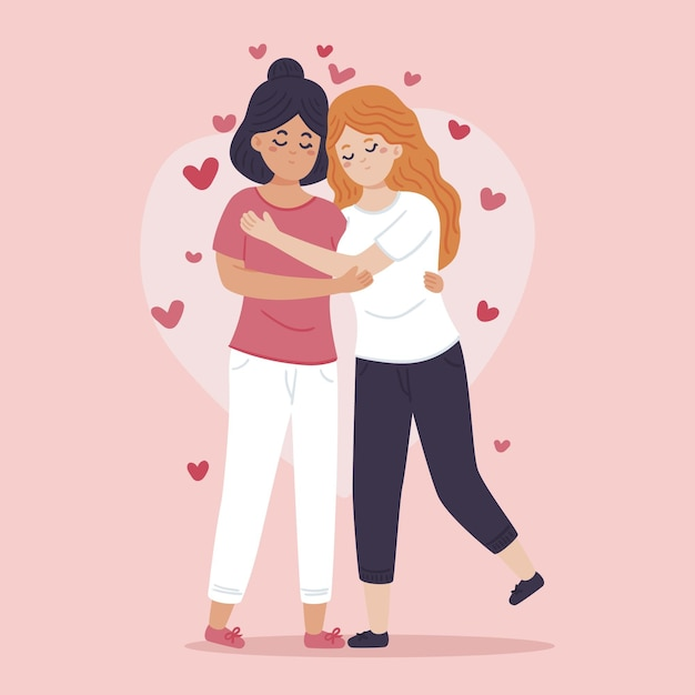 Illustration De Couple Lesbien Plat Organique Vecteur gratuit