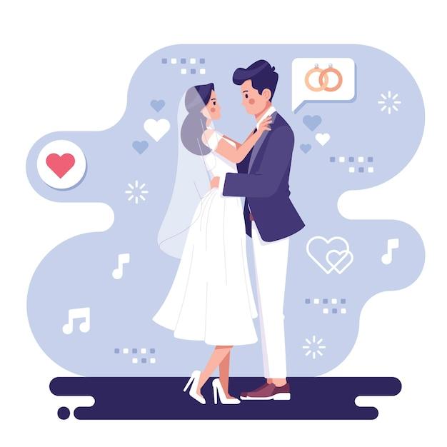 Illustration De Couple De Mariage Romantique Vecteur gratuit