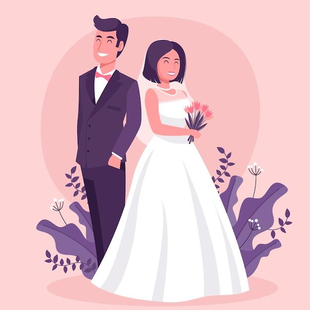 Illustration Avec Couple De Mariage Vecteur gratuit