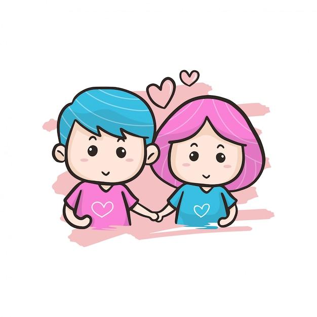 Illustration de couple saint valentin Vecteur Premium