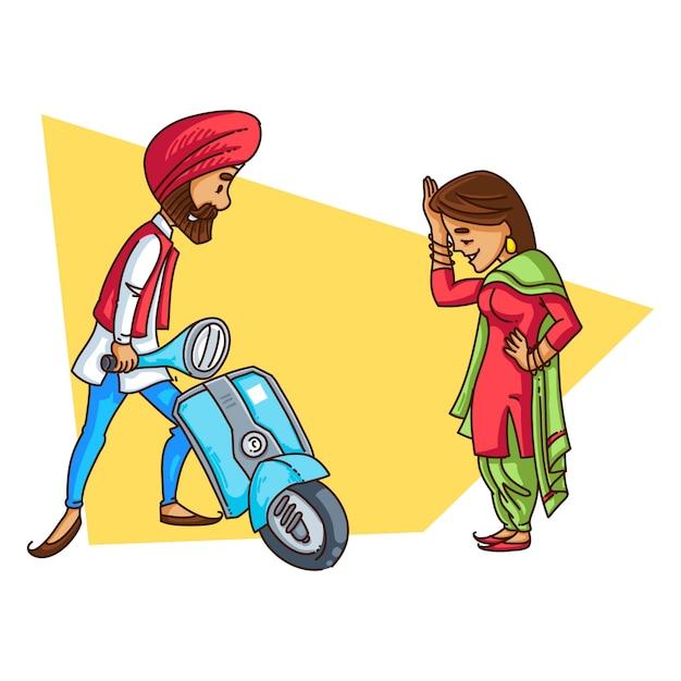 Illustration d'un couple de sardars punjabi. Vecteur Premium