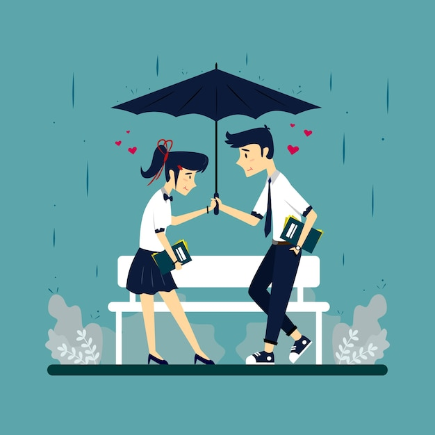 Illustration D'un Couple Sous Un Parapluie Vecteur Premium