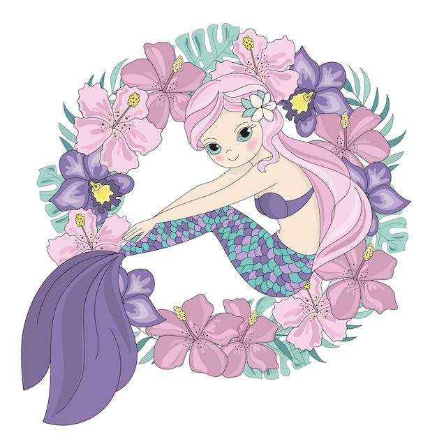 Illustration de couronne mignonne princesse sirène Vecteur Premium